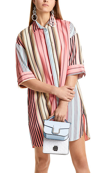 Shirt dress with coloured stripes