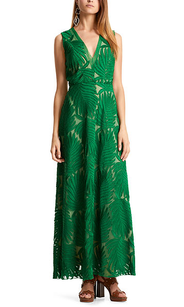 Dress with palm-leaf embroidery on tulle