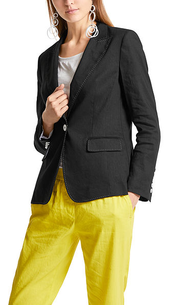 Single-buttoned blazer in a linen blend