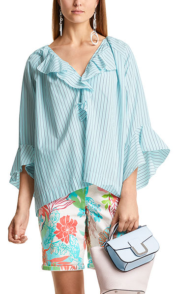 Striped and flounced blouse