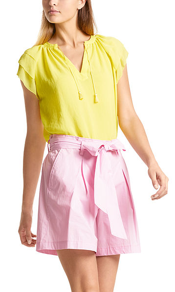Blouse with cap sleeves