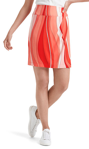 Printed jersey skirt with stripes