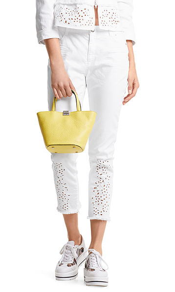 Jeans with broderie anglaise