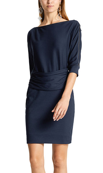 Jersey jurk met ritsdetail