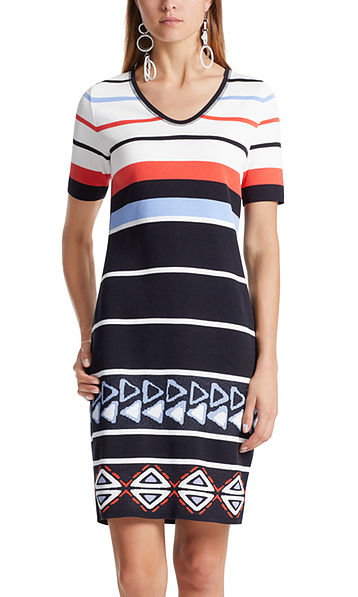 Gebreide jurk met motiefmix