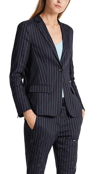 Pinstripe blazer with stretchy insert