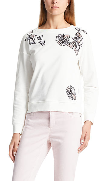 Sweat-shirt brodé à fleurs