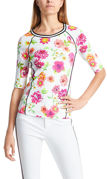 Ribbed cotton top with floral print