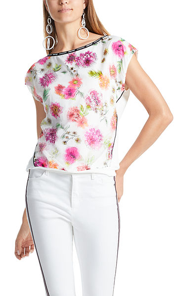 Floral material-mix blouse-style top