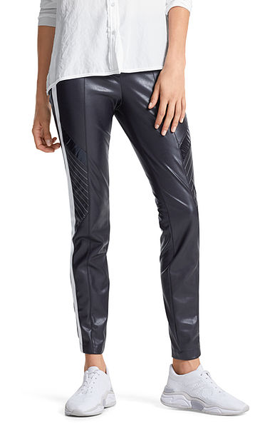 Faux leather pants with stripes