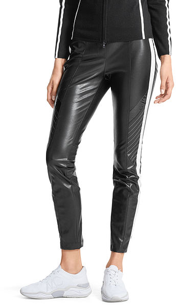 Pantalon en similicuir à rayures