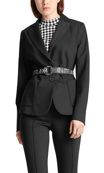 Blazer with knitted pinstripes