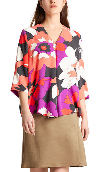 Blouse with maxi flowers
