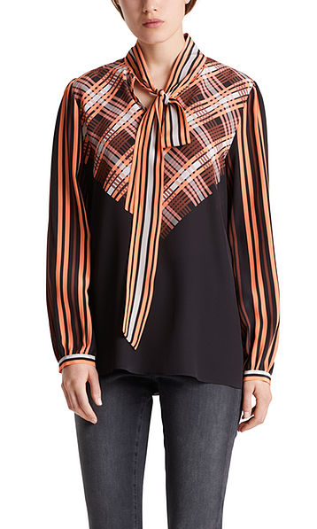 Silk blouse with panel print