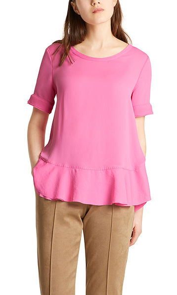 Blouse-style top in mixed materials