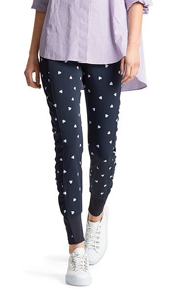 Stretch pants with hearts