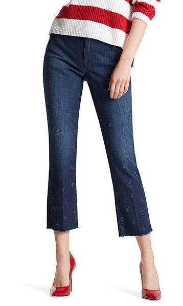 Cropped denim pants with hearts