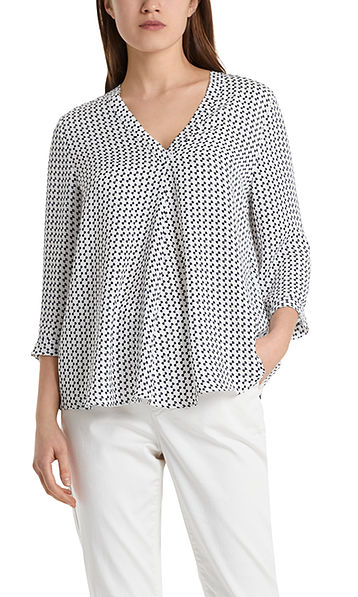 Blouse-style top with ribbon print