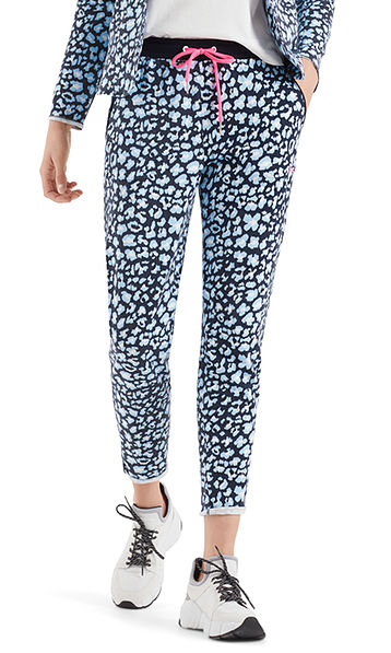 Jersey pants with leopard pattern