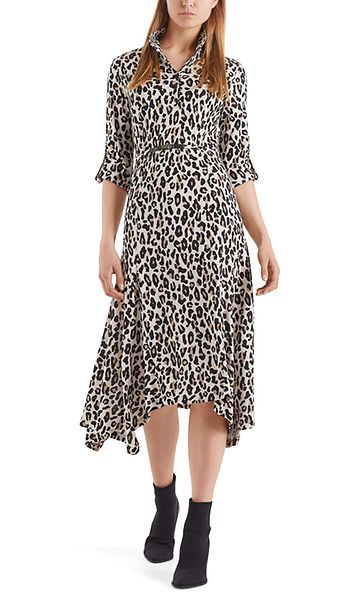 Enkellange jurk met luipaardprint