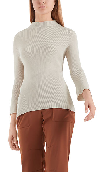 Rib-knit sweater with roll-neck