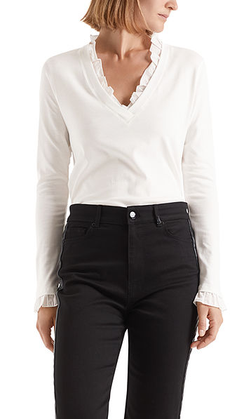 Long-sleeve top with frills
