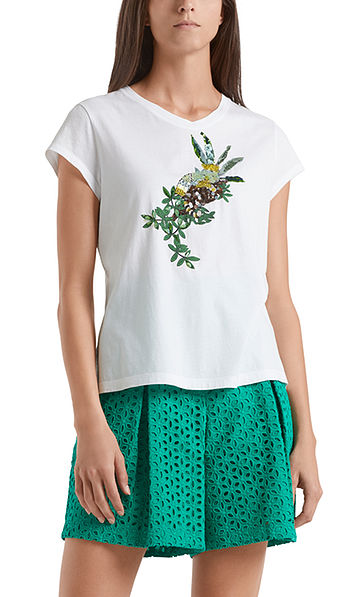 Printed top with sequin embroidery
