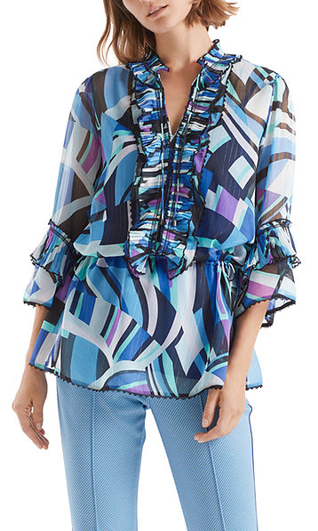 Ruched blouse with graphic print