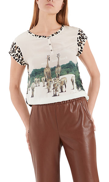 Printed T-shirt with silk