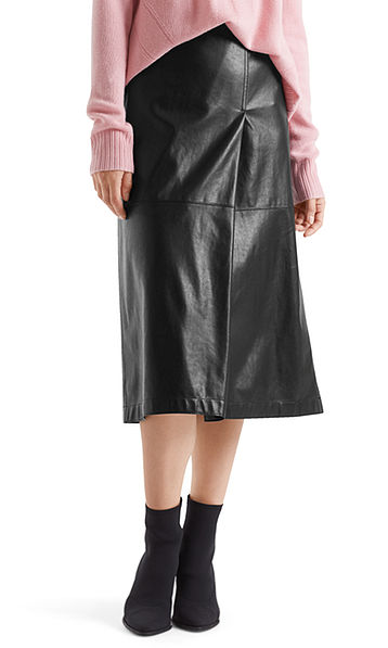 Midi-skirt in faux leather