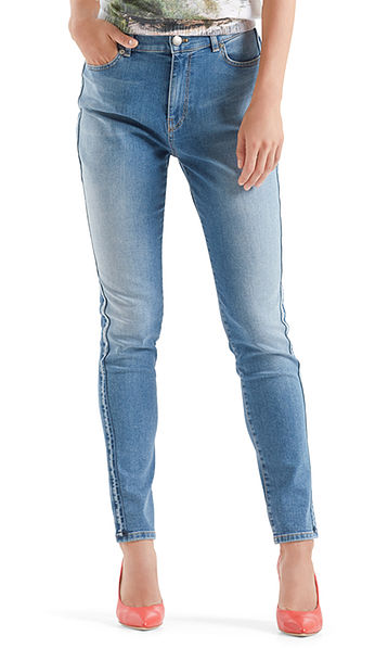 High-waist jeans with side stripes